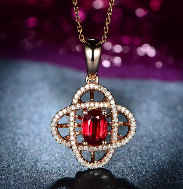 1.02ct Natural Red Ruby in 18K Gold Pendant