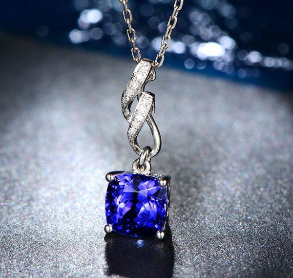 2.35ct Natural Blue Tanzanite in 18K Gold Pendant