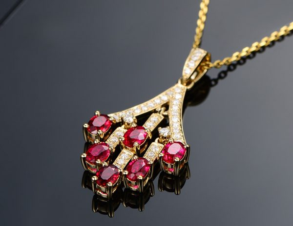 1.55ct Natural Red Ruby in 18K Gold Pendant