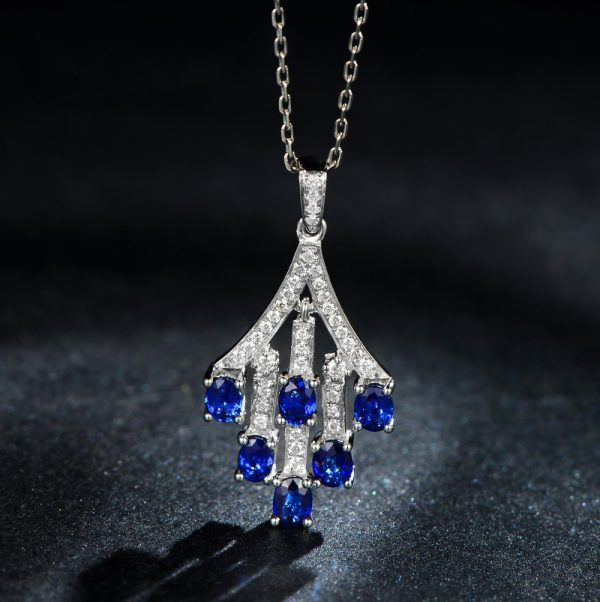 1.55ct Natural Blue Sapphire in 18K Gold Pendant