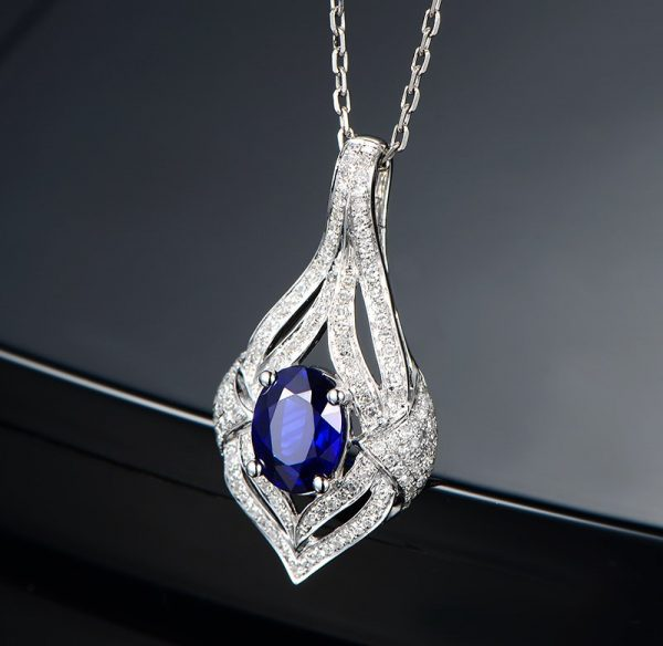 1.23ct Natural Blue Sapphire in 18K Gold Pendant