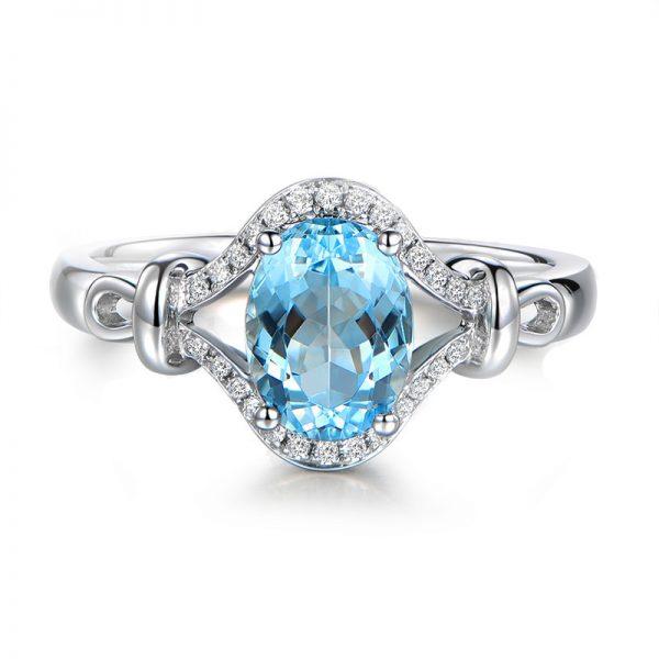 1.33ct Natural Blue Aquamarine in 18K Gold Ring
