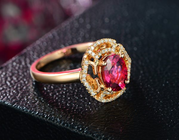 1.3ct Natural Red Tourmaline in 18K Gold Ring