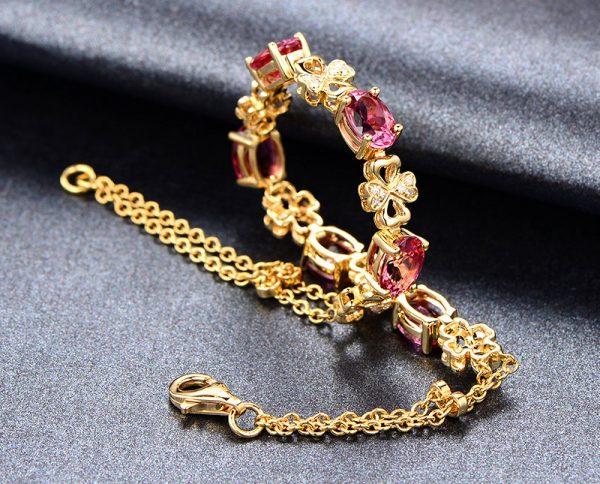 5.5ct Natural Pink Tourmaline in 18K Gold Bracelet