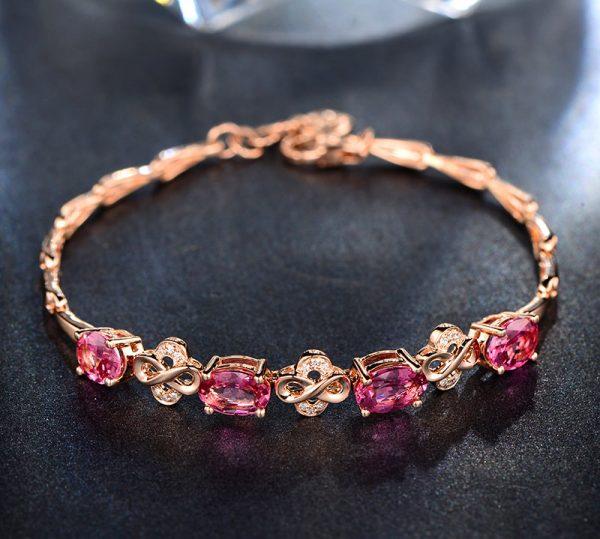 3ct Natural Pink Tourmaline in 18K Gold Bracelet
