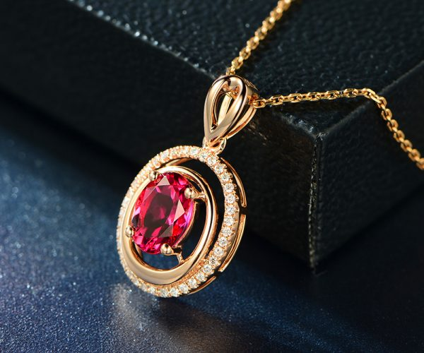 1.31ct Natural Red Tourmaline in 18K Gold Pendant