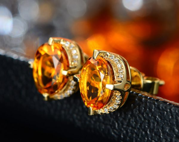 2.65ct Natural Yellow Citrine in 18K Gold Earring