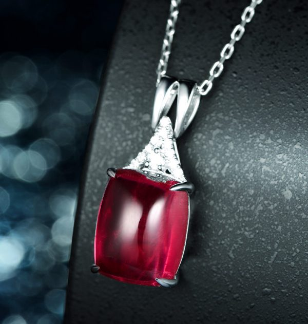 4.98ct Natural Red Tourmaline in 18K Gold Pendant