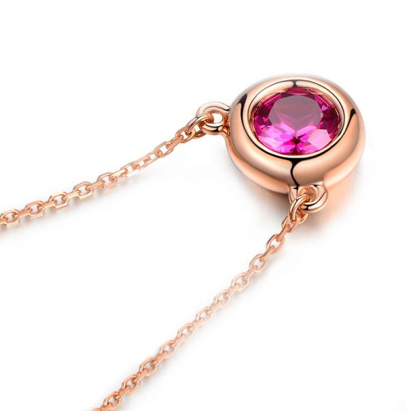 0.62ct Natural Red Tourmaline in 18K Gold Pendant