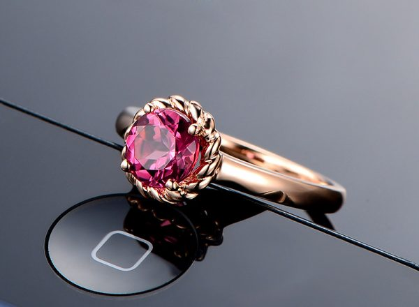 1.01ct Natural Red Tourmaline in 18K Gold Ring