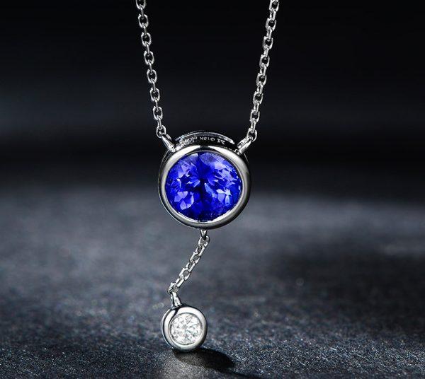 1.02ct Natural Blue Tanzanite in 18K Gold Pendant