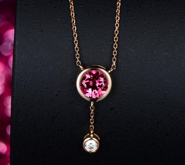 1.01ct Natural Pink Tourmaline in 18K Gold Pendant