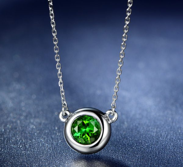 0.62ct Natural Green Tourmaline in 18K Gold Pendant