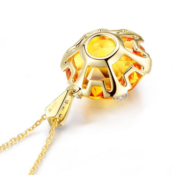 12.5ct Natural Yellow Citrine in 18K Gold Pendant