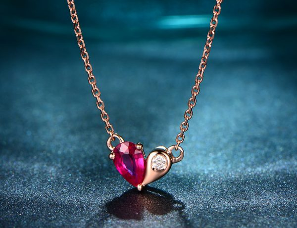 0.31ct Natural Red Ruby in 18K Gold Pendant