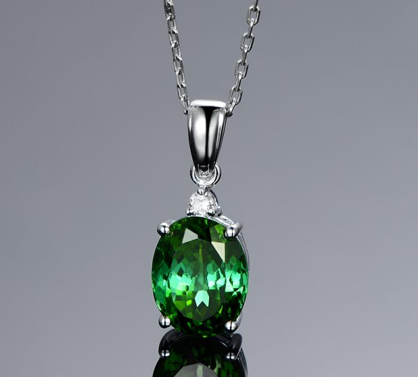 2.15ct Natural Green Tourmaline in 18K Gold Pendant