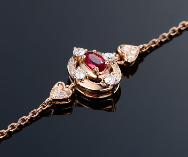 0.28ct Natural Red Ruby in 18K Gold Bracelet