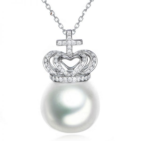 14.5-15 mm Natural White Pearl in 18K Gold Pendant