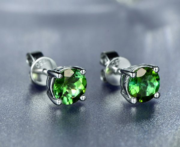 1.2ct Natural Green Tourmaline in 18K Gold Earring