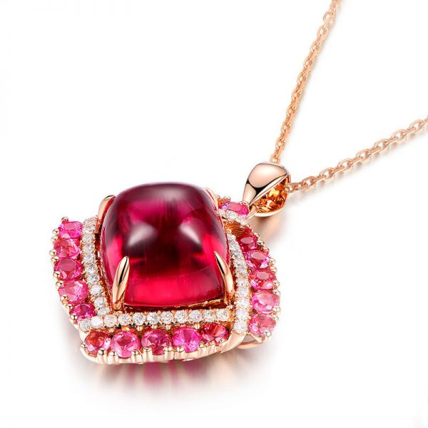 9.21ct Natural Red Tourmaline in 18K Gold Pendant