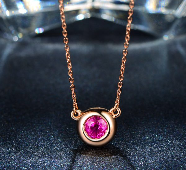 0.48ct Natural Red Ruby in 18K Gold Pendant