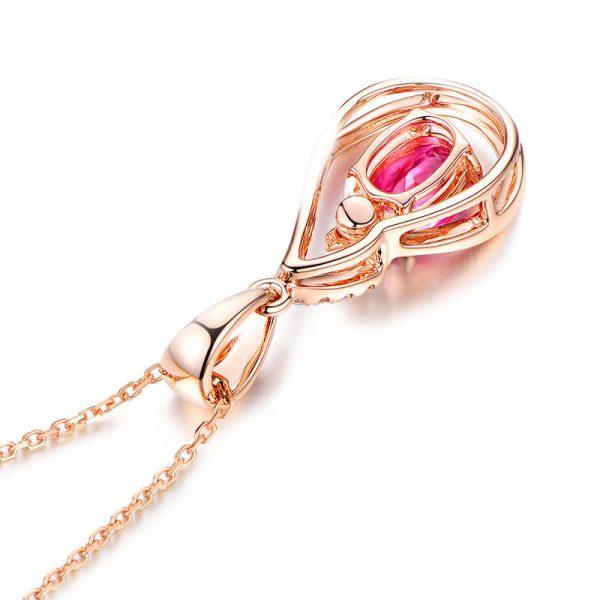 0.91ct Natural Pink Tourmaline in 18K Gold Pendant