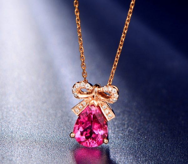 1.5ct Natural Red Tourmaline in 18K Gold Pendant