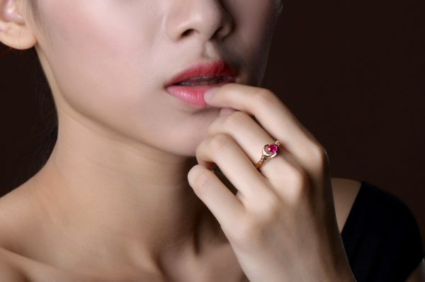 0.43ct Natural Red Ruby in 18K Gold Ring