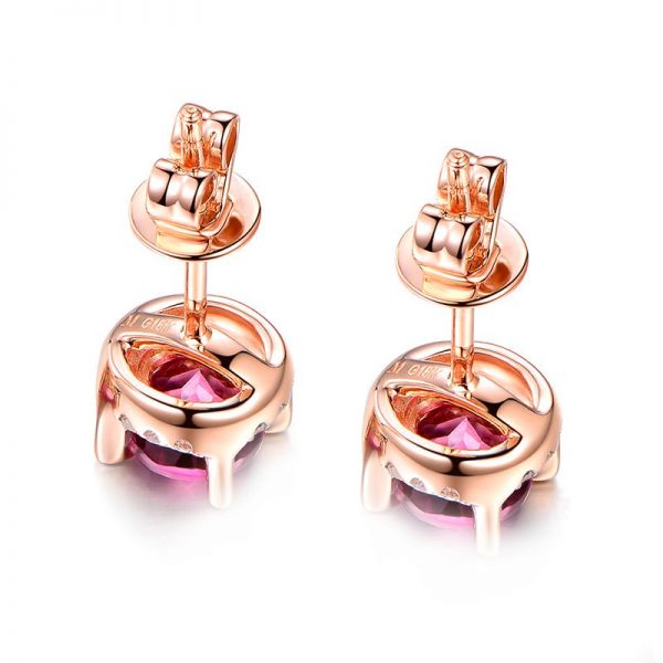 1.25ct Natural Red Tourmaline in 18K Gold Earring