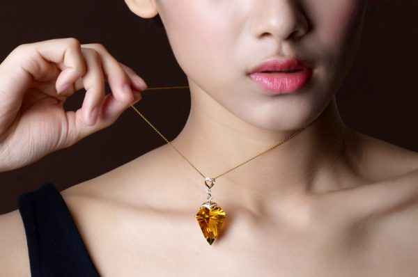 25.5ct Natural Yellow Citrine in 18K Gold Pendant