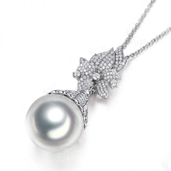 18.5-19 mm Natural White Pearl in 18K Gold Pendant