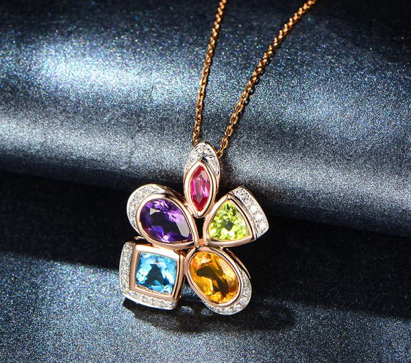 2.7ct Natural Multi Colored Stones in 18K Gold Pendant