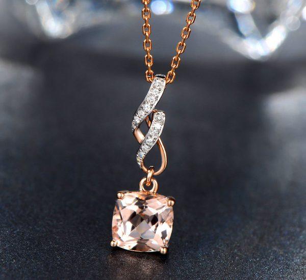 1.85ct Natural Peach Morganite in 18K Gold Pendant