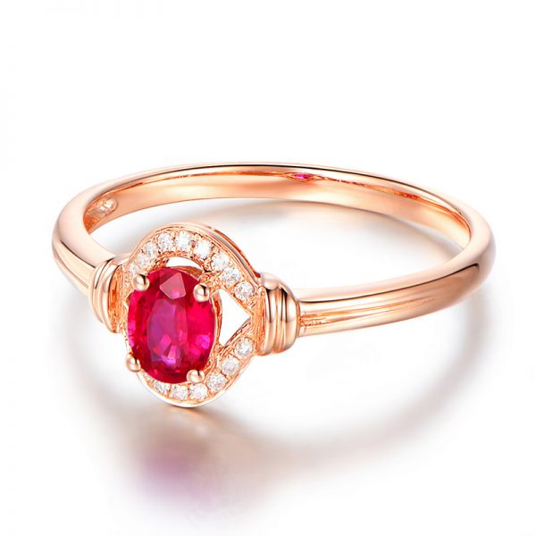0.45ct Natural Red Ruby in 18K Gold Ring