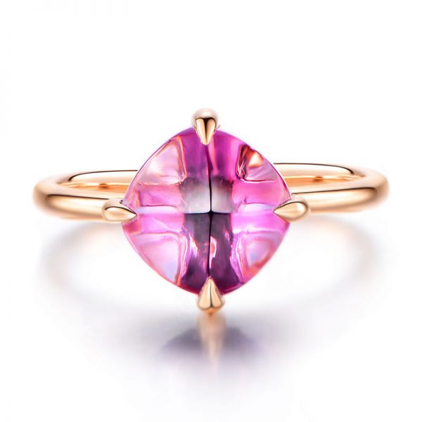2.15ct Natural Purple Amethyst in 18K Gold Ring