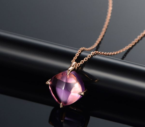 3.5ct Natural Purple Amethyst in 18K Gold Pendant