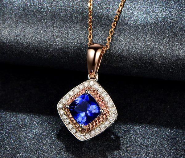 1.2ct Natural Blue Tanzanite in 18K Gold Pendant