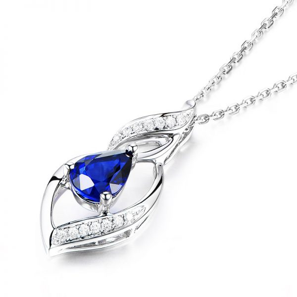1.1ct Natural Blue Sapphire in 18K Gold Pendant