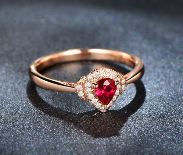 0.41ct Natural Red Ruby in 18K Gold Ring