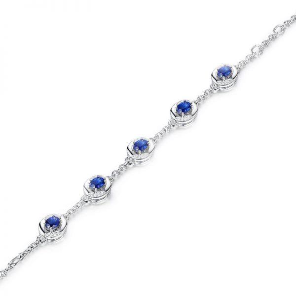 2.26ct Natural Blue Sapphire in 18K Gold Bracelet