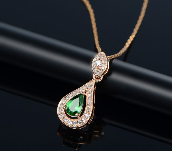 0.45ct Natural Green Sapphire in 18K Gold Pendant