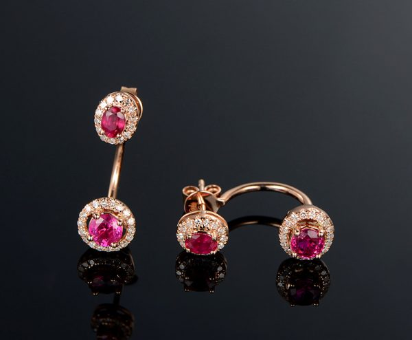 1.7ct Natural Red Ruby in 18K Gold Earring