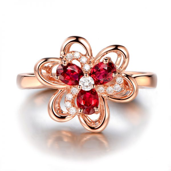 0.61ct Natural Red Ruby in 18K Gold Ring