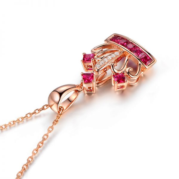 0.86ct Natural Red Ruby in 18K Gold Pendant