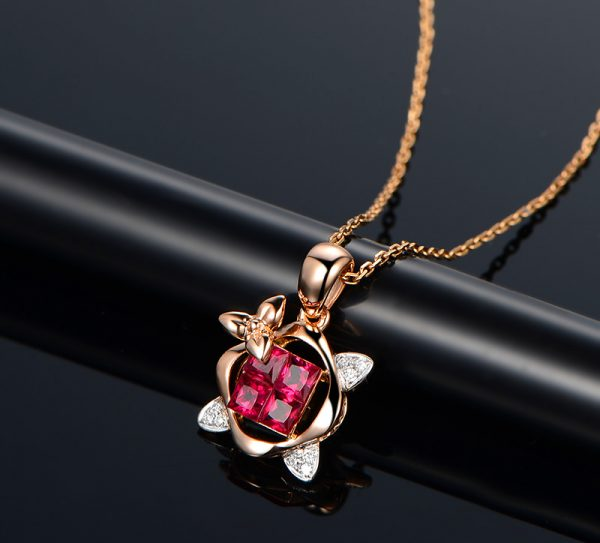 0.65ct Natural Red Ruby in 18K Gold Pendant