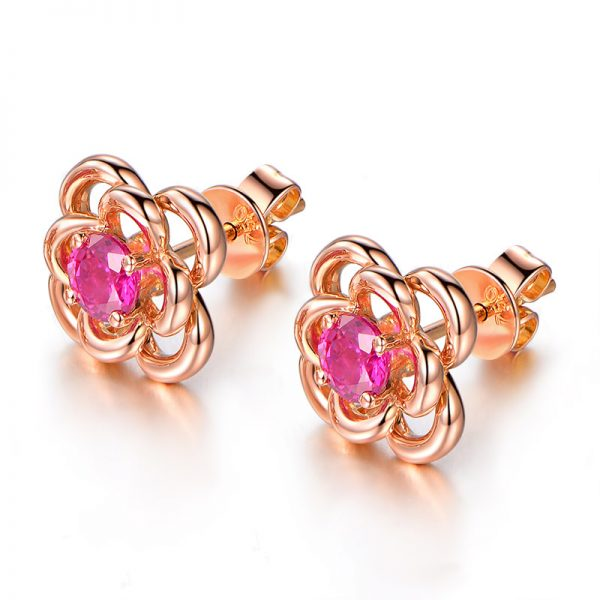 0.85ct Natural Red Ruby in 18K Gold Earring