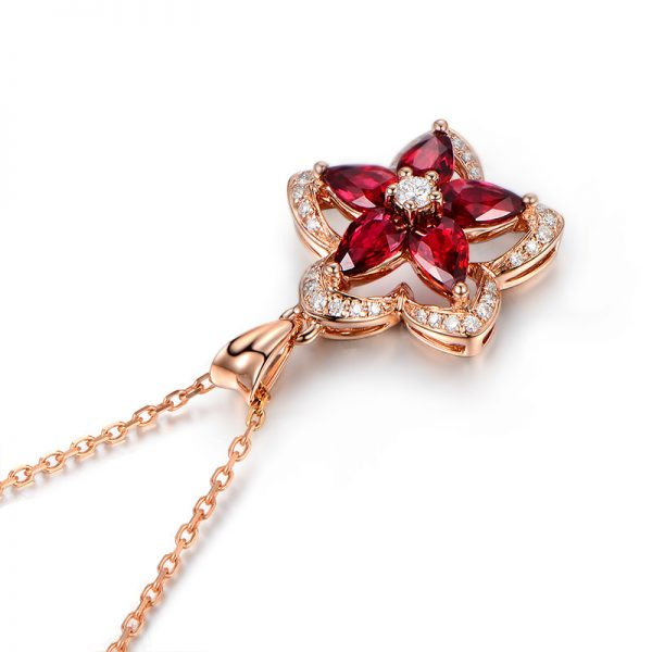 1.65ct Natural Red Ruby in 18K Gold Pendant