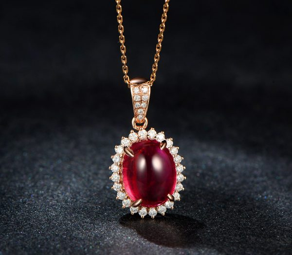 5.6ct Natural Red Tourmaline in 18K Gold Pendant