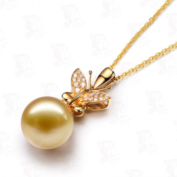 11.5-12 mm Natural Yellow Pearl in 18K Gold Pendant