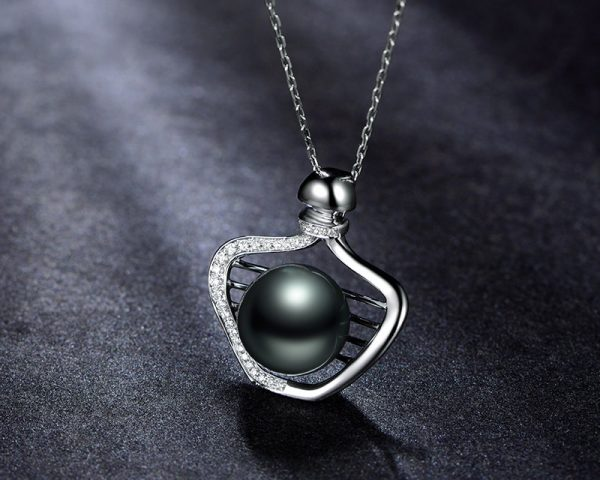 11x11.5 mm Natural Black Pearl in 18K Gold Pendant